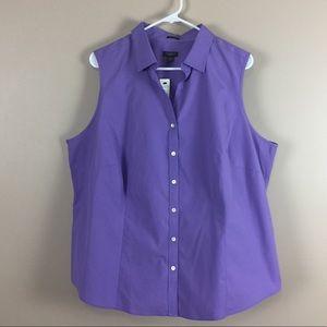 Talbots $75 NWT purple sleeveless spring top Sz 22